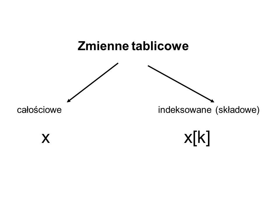 Zmienne tablicowe całościowe indeksowane (składowe) x x[k]